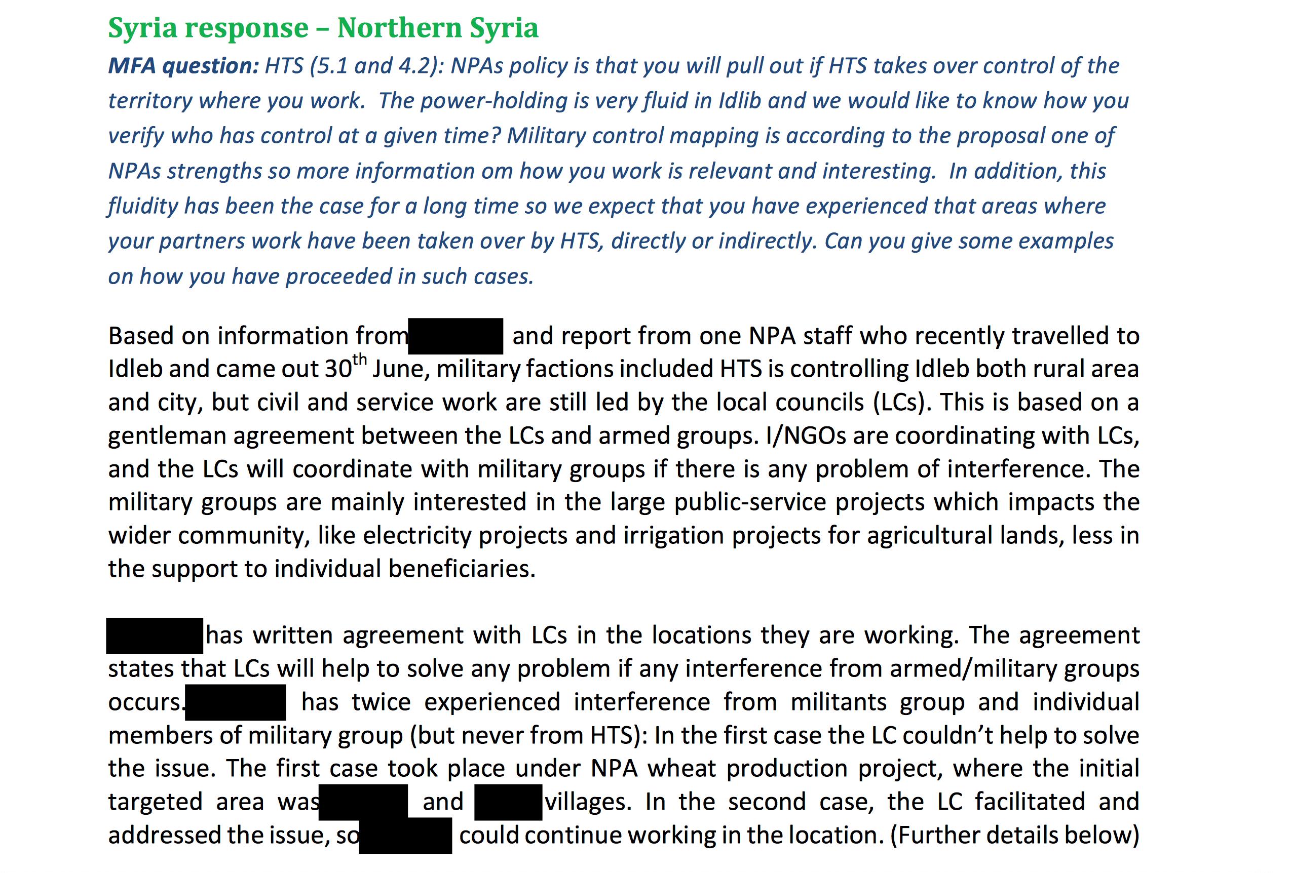 Syrian response northern syria MFA