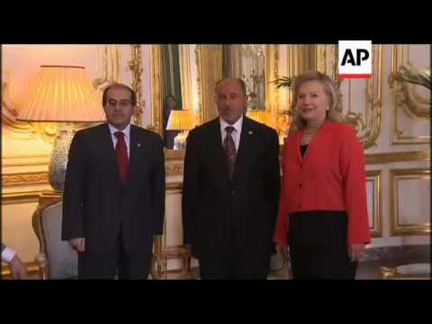 Hillary Clinton, Mahmoud Jibril, Mustafa Abdul Jalil, Libya war 2011.
