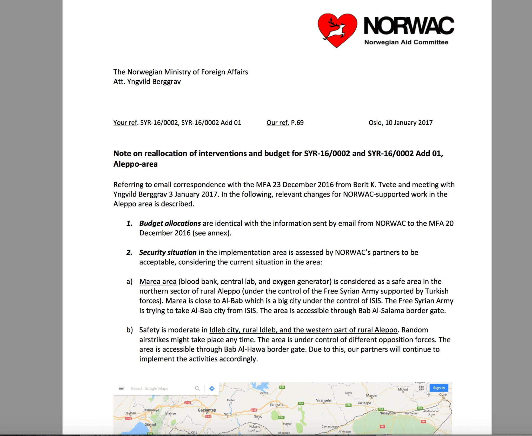 Foto: NORWAC brev til UD