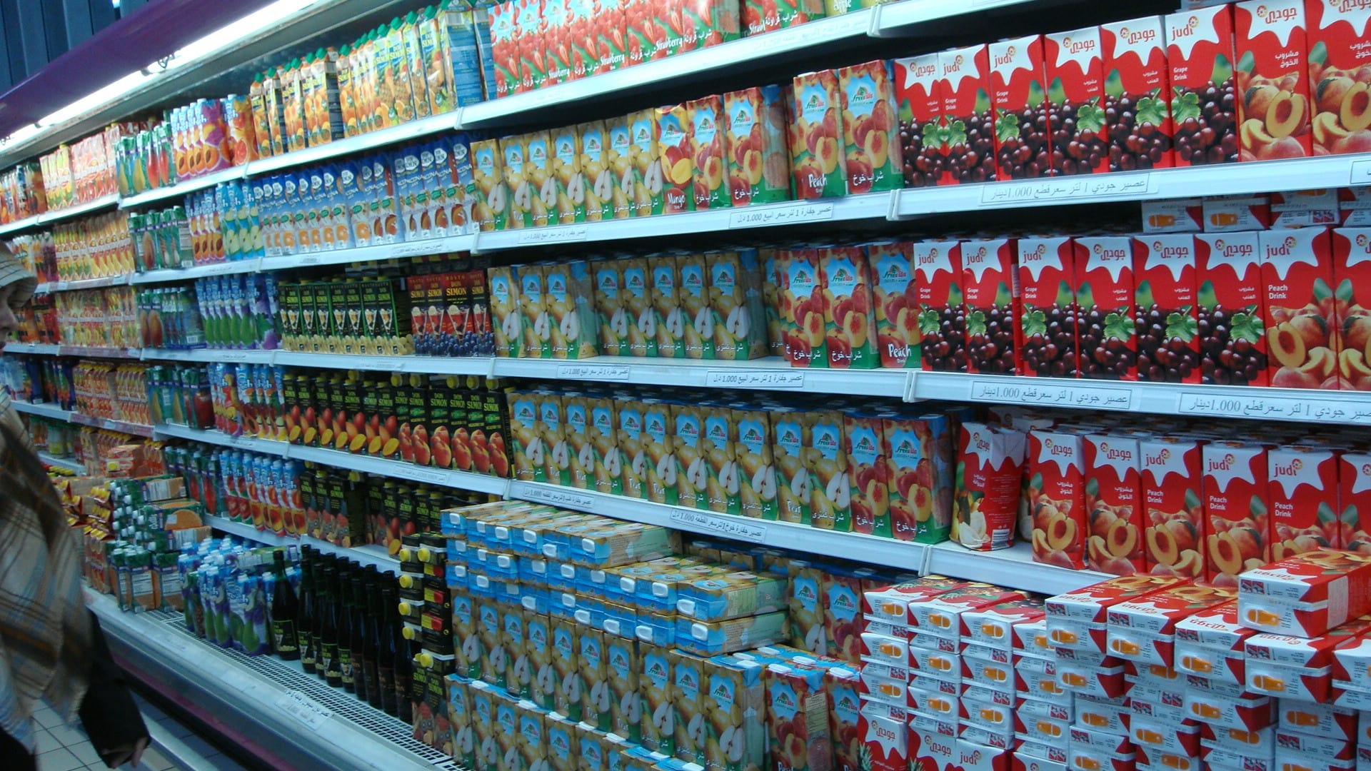 Fruit juice selection in a store in Libya, 2008.