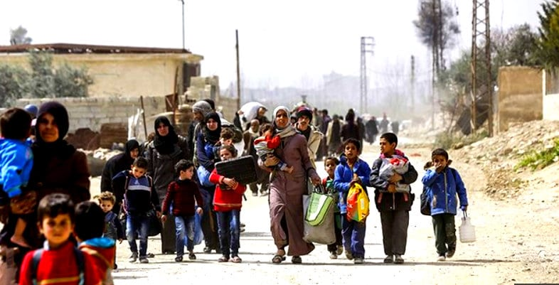 Refugees using the Syrian Army