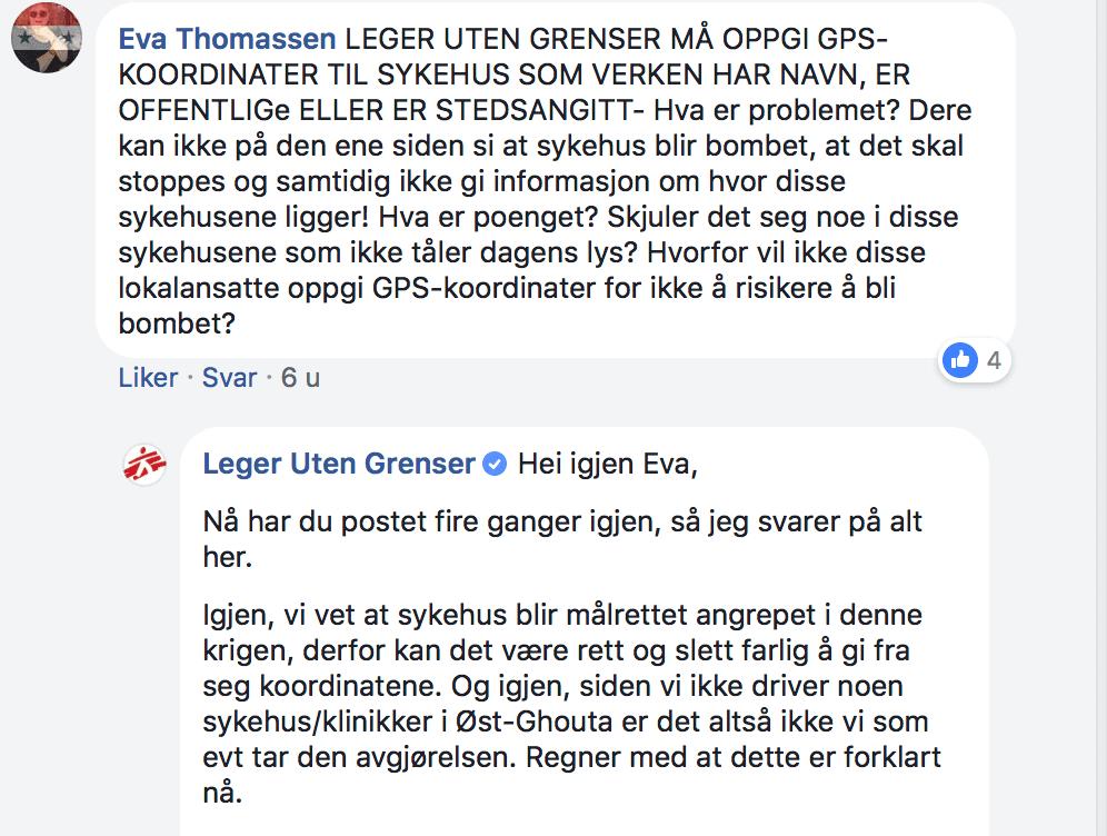 Leger Uten Grenser har ikke kontroll Segment Facebook