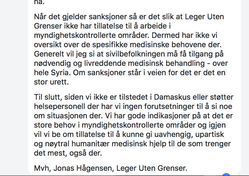Leger Uten Grenser Facebook faksimile.