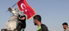 gaza-turkey-influence-gazan-protestor-riding-a-horse-holds-a-Turkish-flag