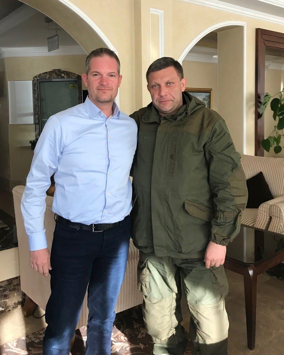Henddrik Weber Møte med Donetsk president Aleksander Zakharchenko på hotellet, mai 2018.
