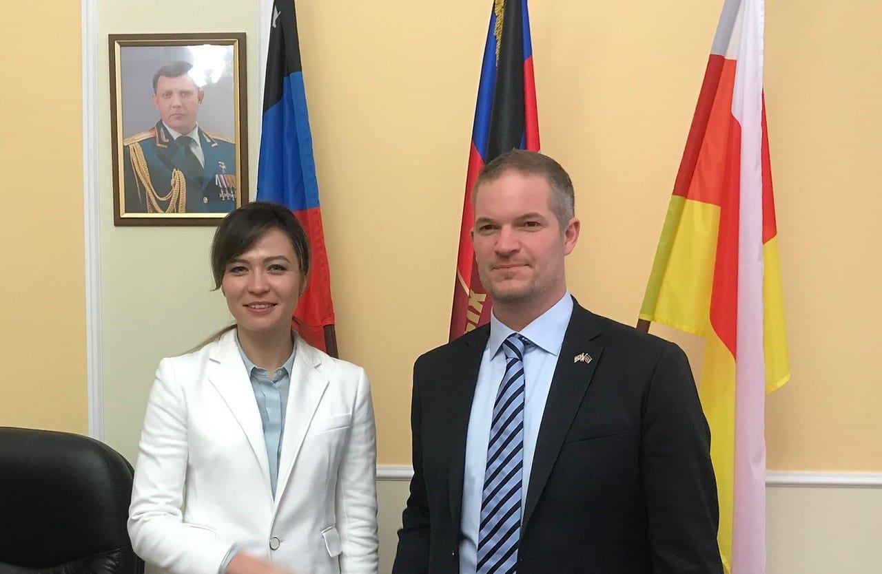 Hendrik Weber with Foreign Minister in the republic of Donbass, Mme. Nataliya Nikonorova.