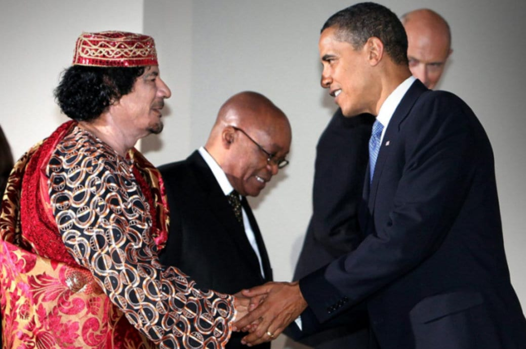 "allegations of Muammar Gaddafi ""killing his own people"", ""genocide in Libya"" were pure lies."