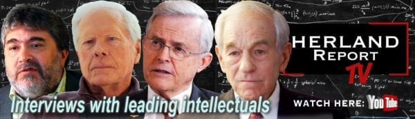Herland Report lying down banner Ron Paul, Roberts, Medved, Senator Richard Black