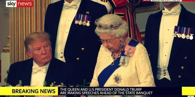 Queen ELisabeth donald trump state visit banquet 2019 sky news