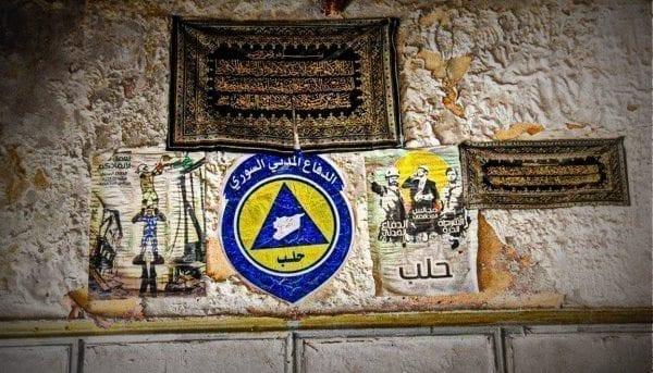 White Helmets logo sammen med Al Nusra Eva Thomassen photo
