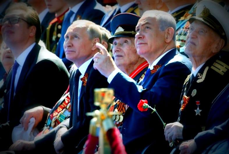 Putin Netanyahu moscow military parade 2018 israel Russia good relations
