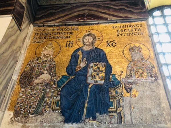 Hanne Nabintu Herland Hagia Sophia, Constantinople, Istanbul, Turkey, Orthodox Christianity, Golden icon not covered with Islamic calligraphy Photo: Herland Report.